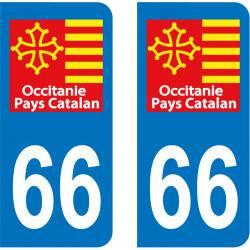 Autocollant Plaque 66 Pyrénées Orientales Pays Catalan