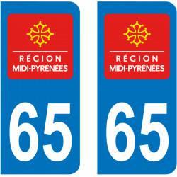 Autocollant Plaque 65 Hautes Pyrénées
