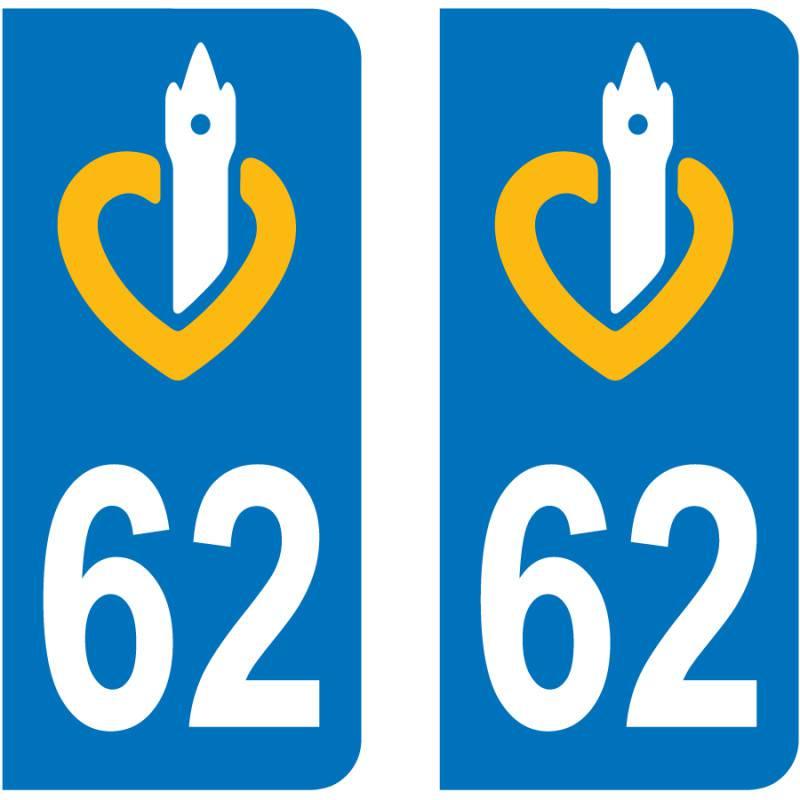 Autocollant Plaque 62 Pas de Calais