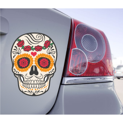 Sticker Tete De Mort Mexicaine Fleur Rose - 1