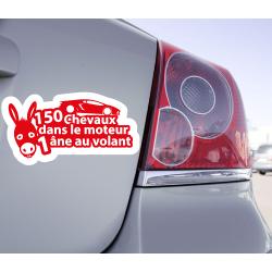Sticker 150 Cheveaux Dans Le Moteur 1 Âne Au Volant - 1