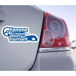 Sticker Femme Au Volant Mort Au Tournant - 1