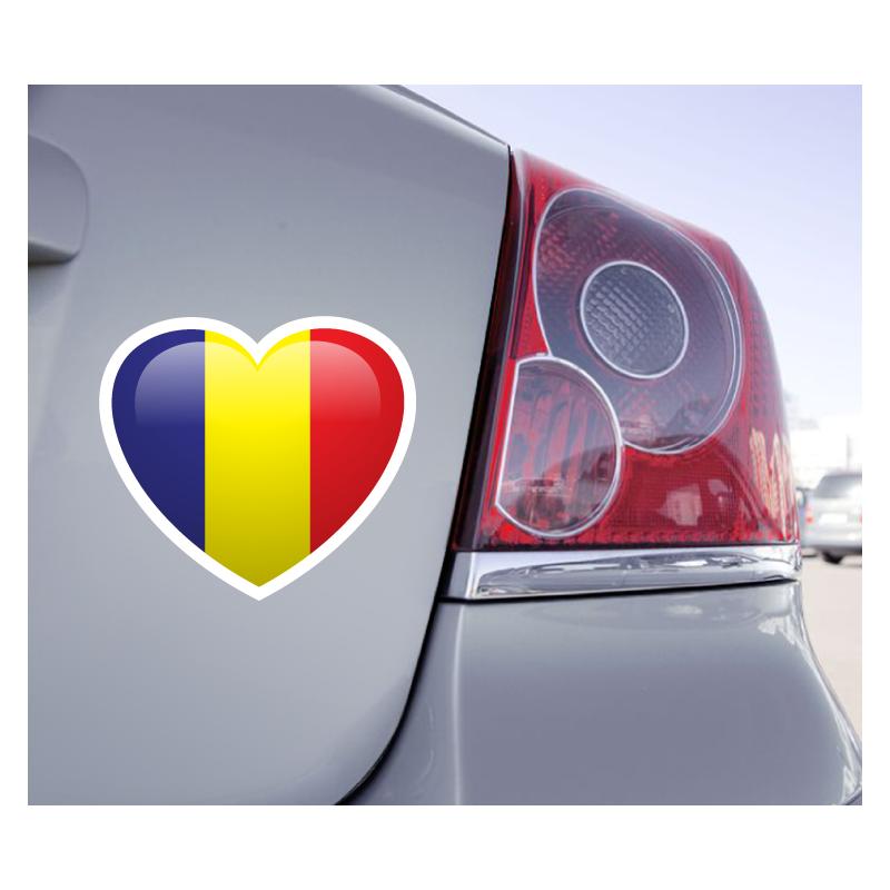 Sticker Love Drapeau Roumanie - 1