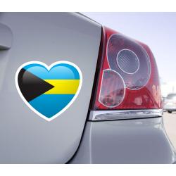 Sticker Love Drapeau Bahamas - 1