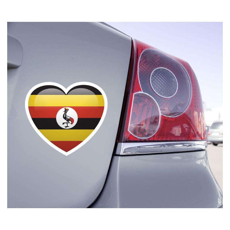 Sticker Love Drapeau Ouganda - 1