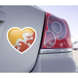 Sticker Love Drapeau Bhoutan