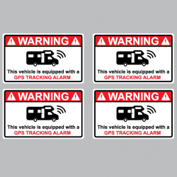 4 Stickers Alarme Camping Car - GPS TRACKING ALARM - 3