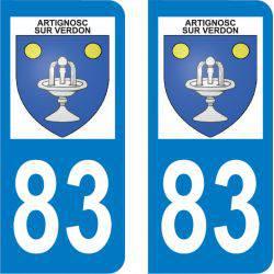 Autocollant Plaque Artignosc-sur-Verdon 83630