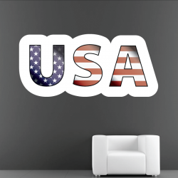 Sticker Mural Logo USA