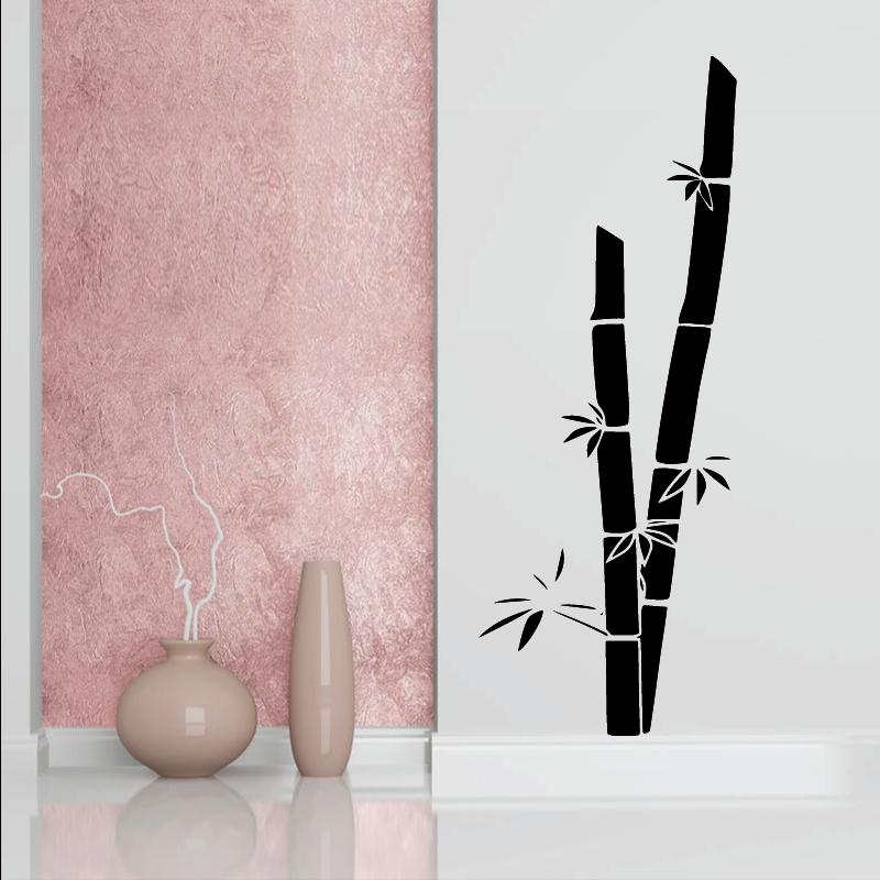 Autocollant Mural Bambou Zonestickers Couleur Decoupe Noir
