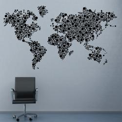 Sticker Mural Map Monde Point
