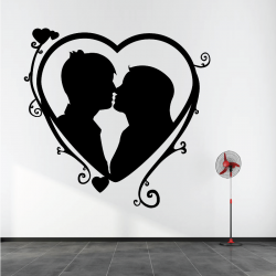 Sticker Mural Coeur Couple...